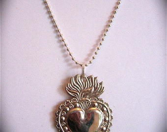 "Intricate 2.5"" SACRED HEART Milagro Pendant and 24"" sterling silver plated necklace- Perfect for your holiday gift giving"
