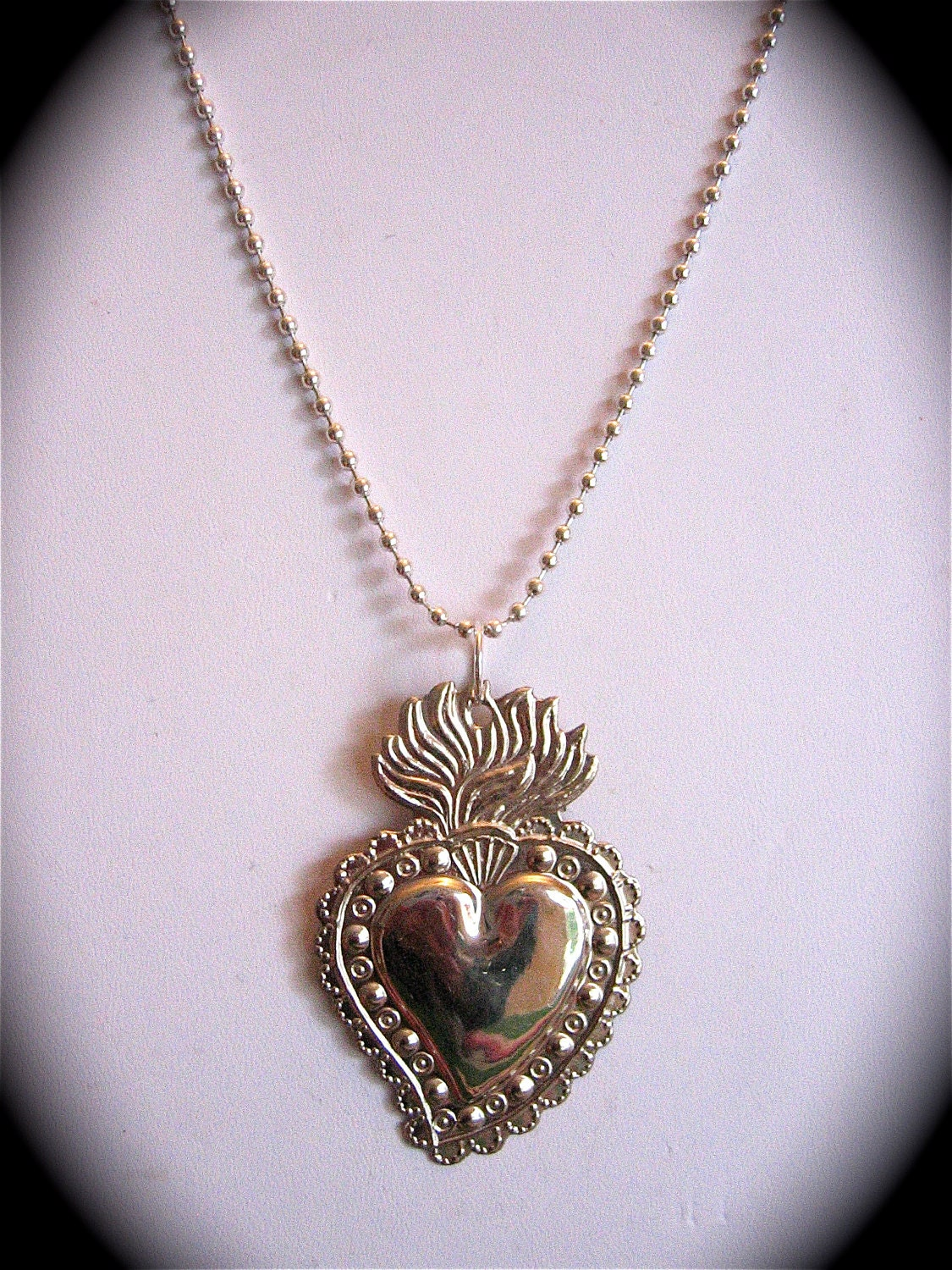 Intricate 2 5 Sacred Heart Milagro Pendant And 24