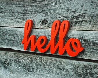 HELLO - handmade wooden wall art sign - home decor photo prop gift present
