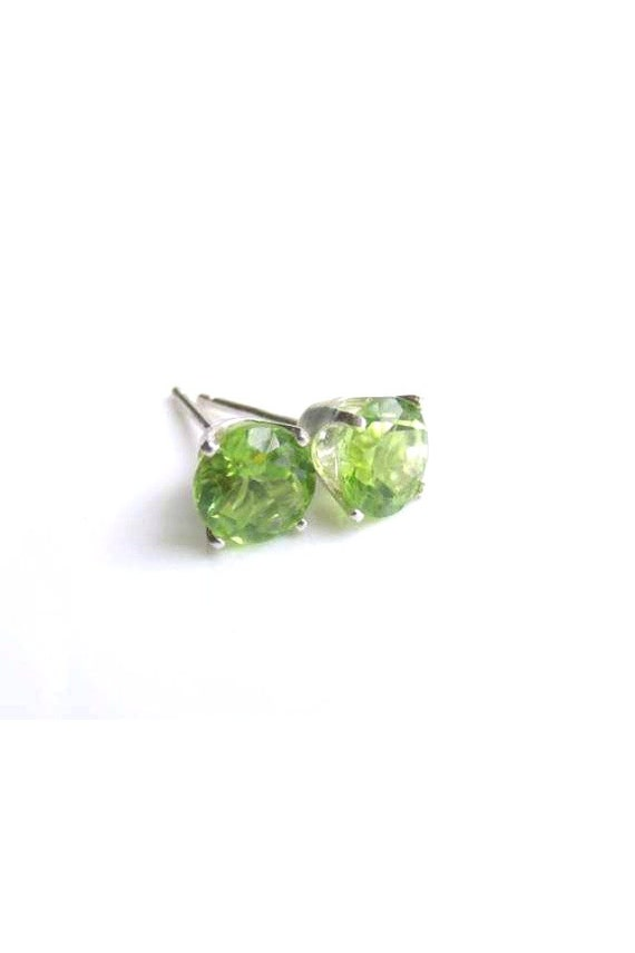 Peridot Stud Earrings Sterling Silver August Birthstone 6mm
