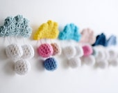 any 2 crochet rain cloud brooches for reduced price - unique wedding idea or great unisex gift for her or him - crochet cloud brooch, pin