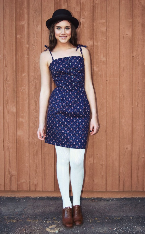 Cheryl Snap Button Shift Dress with Pleated Pencil Skirt and Tie Straps - Custom Fabric