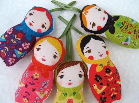 Matryoshka Ornaments , Set Of Five