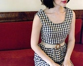 Fall Fashion Gingham Dress Size Small -  Fitted Vintage Inspired Dress in Navy Blue