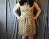 Mad Men 1950's Dress- Brown Plaid Dress- size small- SALE