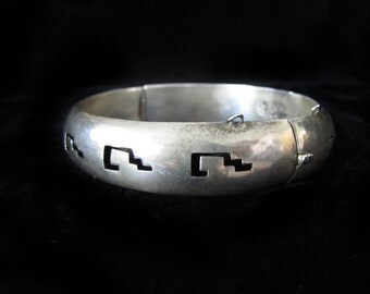 Vintage Hollow Sterling Silver Mexican Taxco Bracelet
