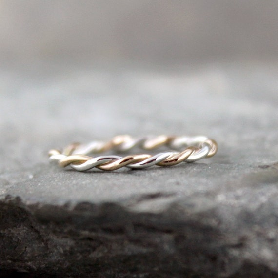 Sterling Silver and 14K Yellow Gold Filled Twisted Band - Wedding Ring - Anniversary Ring - Friendship Band - Stacking Ring