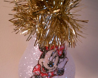 Minnie Mouse handmade light bulb ornament