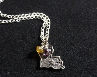 LSU Tigers Necklace, Louisiana State Map Sterling Silver Charm, Yellow & Purple Beaded Pendant Necklace