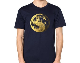 Men's Gold Moon Shirt - almost full moon graphic with crescent, metallic foil screenprint, navy blue short sleeve for boys
