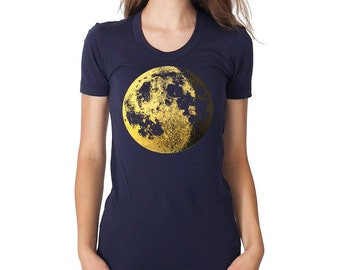 MOON shirt, women moon t-shirt, gold moon graphic tee, full moon t shirt, astronomy tshirt, space shirt, moon gift for her, gold and navy