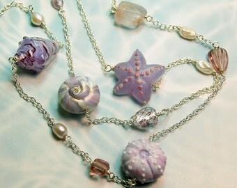 Lavender Shoreline Lampwork Bead Long Necklace