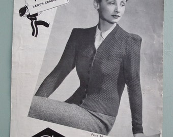 "Vintage Knitting Pattern 1930s 1940s Women's Cardigan Jacket 30s 40s original pattern Copley's UK 1352 WW2 WWII wartime style 34"" bust M"