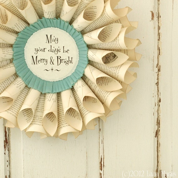 Christmas Wreath - Merry and Bright - Vintage Book Page Wreath - Winter Decor - Cottage Chic - MTO - Mint Aqua Blue Green