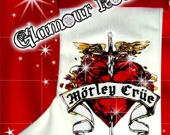 Motley Crue Band Concert Christmas Stocking Rhinestone Crystal bling Glamourrocks Glamour