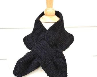Unique scarf - Knit scarf - keyhole scarf - black scarf - warm winter neckwarmer - knit ascot - women's scarf - women's winter accessory