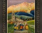 Vintage Travel Poster Re-Print of Abruzzo Italy - Giclee Art Print - Italy Poster - Italian Travel Art  Abruzzo Poster