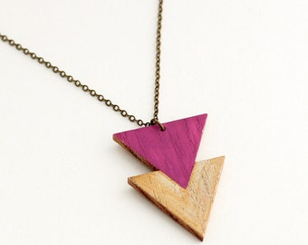 Geometric, double triangle wooden necklace - gold, magenta - minimalist, modern jewelry - color blocking