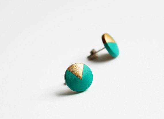 Minimalist, geometric turquoise green earrings with gold triangle
