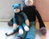 CLEARANCE SALE Handmade Charming Cat Duo Hand Crocheted Cat with French Beret Amigurumi Dressed Cat with Friend Made OOAK
