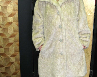 Beige Plush Swing Coat - Guilt Free Fur Coat