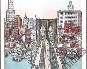 New York City Vintage Postcard - View from Brooklyn Bridge Tower (Unused)