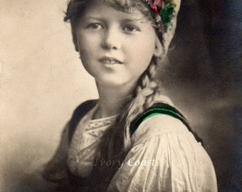 Gypsy girl with floral hat vintage postcard.  Digital Download Ephemera.