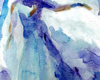 Blue Angel Watercolor Giclee Print From Original Painting 8 x 10