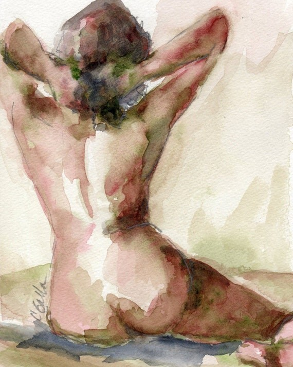 Watercolor Print, Nude Female Figure, Watercolor Painting, Giclee Print, Nude Wall Art, 8 x 10, free shipping, Best Seller