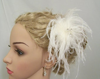 Ostrich Feather Rhinestone Hair Piece
