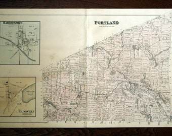 Large Antique Hand Coloured Map of Portland Township/South Frontenac, Ontario. From 1878 Atlas