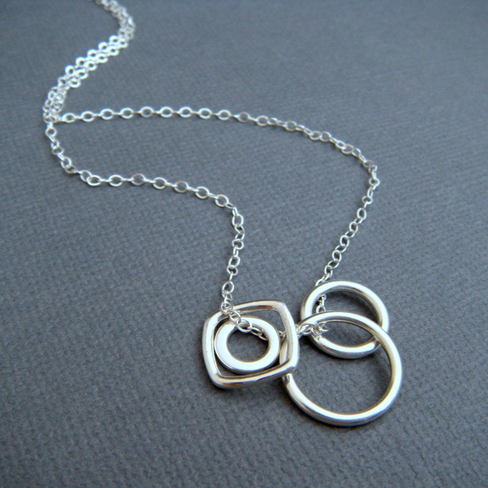 geometric necklace. simple silver necklace. interchangeable