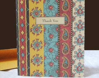 Persian Flower exotic floral tropical garden folk art paisley stripe thank you cards set of 8 hostess gift