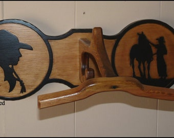 Built-to-Order, Hat Rack Molesworth Style Wall Hanging Western Cowboy Chic Rustic Carved Cowboy Cowgirl Horse