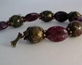 handmade lepidolite and charoite bracelet
