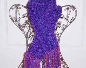 Hand Crocheted Scarf - SUPER SOFT Women's Purple Fashion Scarf, Woman's Apparel, Scarf, Fashion Accessory - Homespun Yarn in Purple Haze