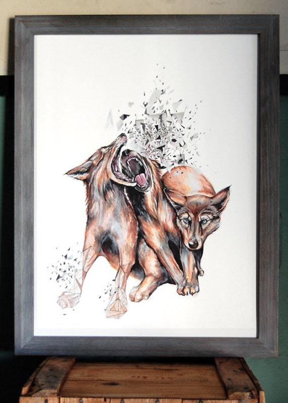 Wolf Print - contemporary home, contemporary art, wildlife print, art for the nature lover, nature print, Large 24 x 18