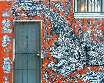 Graffiti Photography, Tiger Art, San Francisco Street Photo, Urban Photo, Graffiti Art, Mural Art, Orange Grey Print, Industrial Wall Art