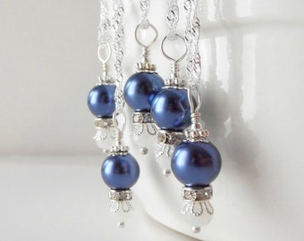 Dark Blue Bridesmaid Jewelry, Pearl Bridesmaid Necklaces, Beaded Jewelry, Sapphire Blue Wedding Sets, Sterling Silver Chain, Bridesmaid Gift