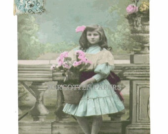 Adorable Little French Flower Girl - Pastel Tinted Real Photo Vintage Postcard