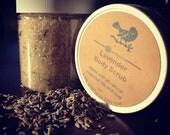 Lavender Sugar Body scrub w/ Sweet Almond oil, essential oils & dried organic lavender buds in a clear 8oz jar