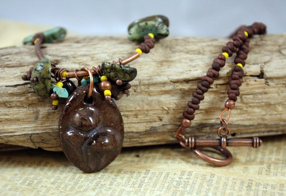What a Fungi Necklace - ceramic focal, antiqued copper, turquoise