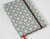 Journal Notebook Small Geometrical Flowers Blue Fabric Handstitch Coptic Stitch (Size A6)