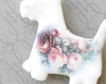 Dog Brooch. Westie. Pink Cabbage Roses. Clay. Ceramic. Light Pink. Dark Pink. Sage Green. Light Blue. Scottie. Cottage Garden. Shabby Chic.