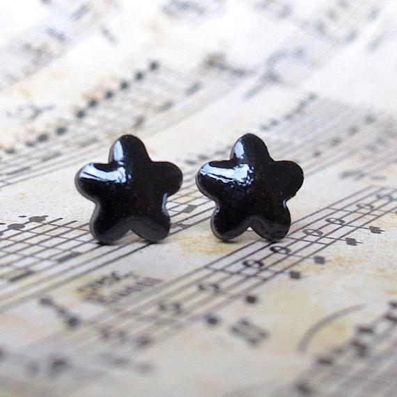 Petite Porcelain Flower Earrings. Black Glaze on Black Porcelain. Ebony. Jet. Post or Stud Earrings. Surgical Steel. Star Flower. Daisy