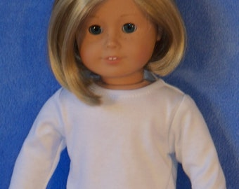 American Made 18 inch Doll Long Sleeved White Crew Neck T-Shirt