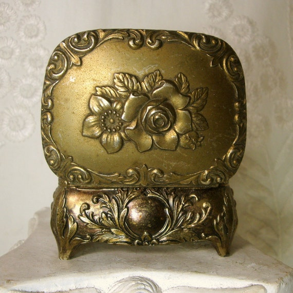 Vintage Metal Trinket Box, 1950s, Japan, Gold Washed Metal, Ornate Flowered Jewelry Box, Rococco Shabby Chic,  Red Lined, Footed