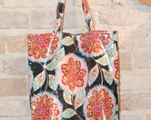 Tween Teen Laminated Cotton Tote Bag - waterproof fabric- reversible - vintage style floral and dot print fabric