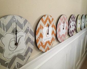 Trendy Chevron Print 12 inch Clock Personalized with Monogram Wedding gift, Baby Shower gift, Housewarming gift