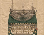 green typewriter Porto-rite -SooArt Original Illustrate Drawing  A4 Print on Pillows, t-shirts, scrapbook, lampshades  ETC.